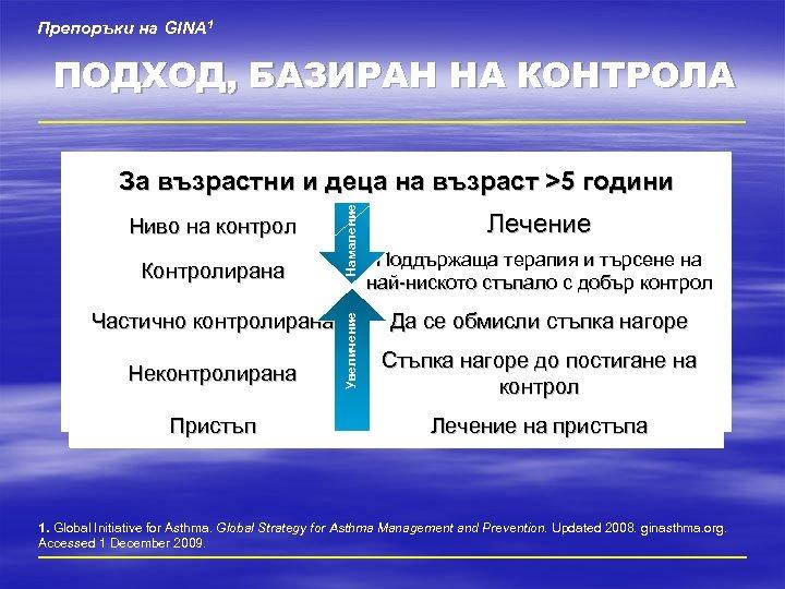 Препоръки на GINA 1 ПОДХОД, БАЗИРАН НА КОНТРОЛА Контролирана Частично контролирана Неконтролирана Пристъп Увеличение