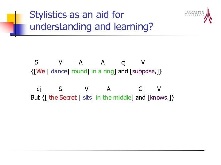 Stylistics as an aid for understanding and learning? S V A A cj V