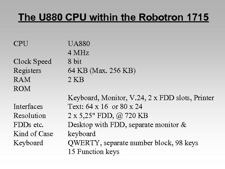 The U 880 CPU within the Robotron 1715 CPU Clock Speed Registers RAM ROM