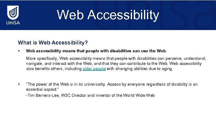 Web Accessibility What is Web Accessibility? • Web accessibility means that people with disabilities