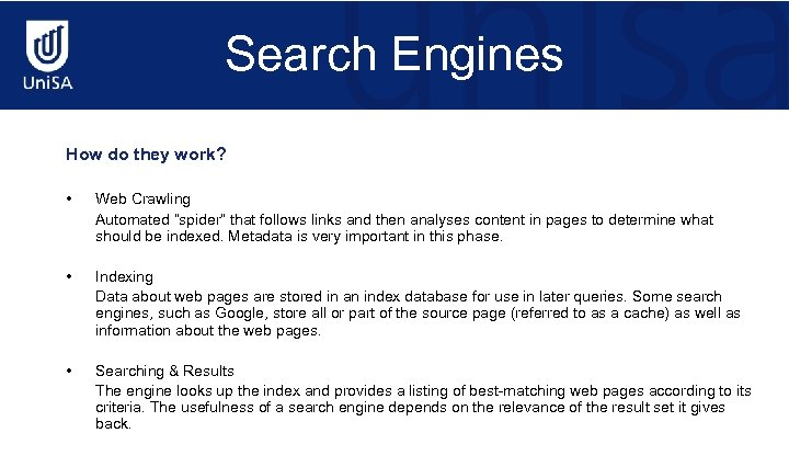 """Search Engines How do they work? • Web Crawling Automated """"spider"""" that follows links"""