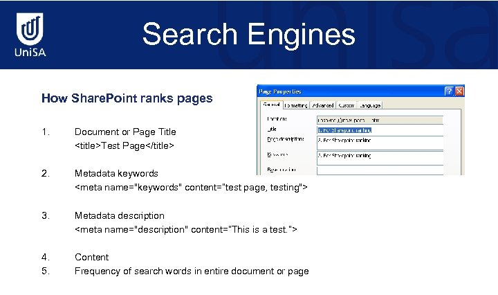 Search Engines How Share. Point ranks pages 1. Document or Page Title <title>Test Page</title>