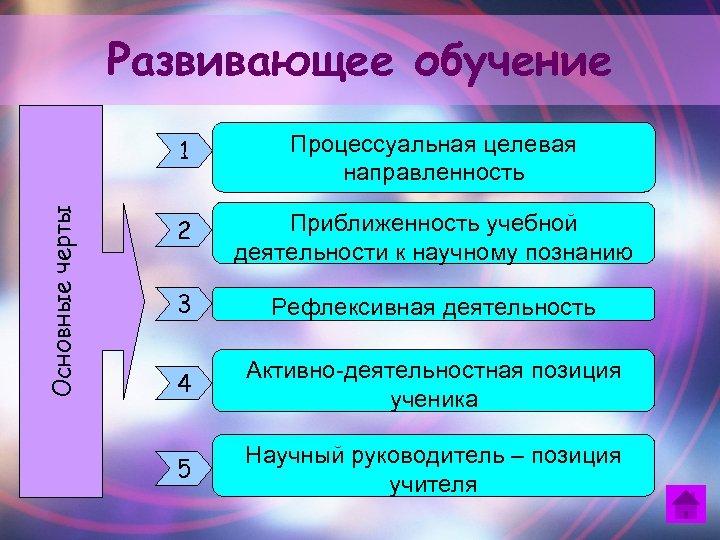 Развивающее обучение Основные черты 1 Процессуальная целевая направленность 2 Приближенность учебной деятельности к научному