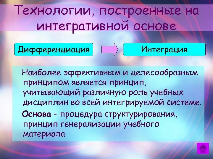 Технологии, построенные на интегративной основе Дифференциация Интеграция Наиболее эффективным и целесообразным принципом является принцип,