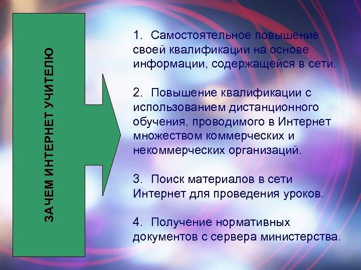 ЗАЧЕМ ИНТЕРНЕТ УЧИТЕЛЮ 1. Самостоятельное повышение своей квалификации на основе информации, содержащейся в сети.