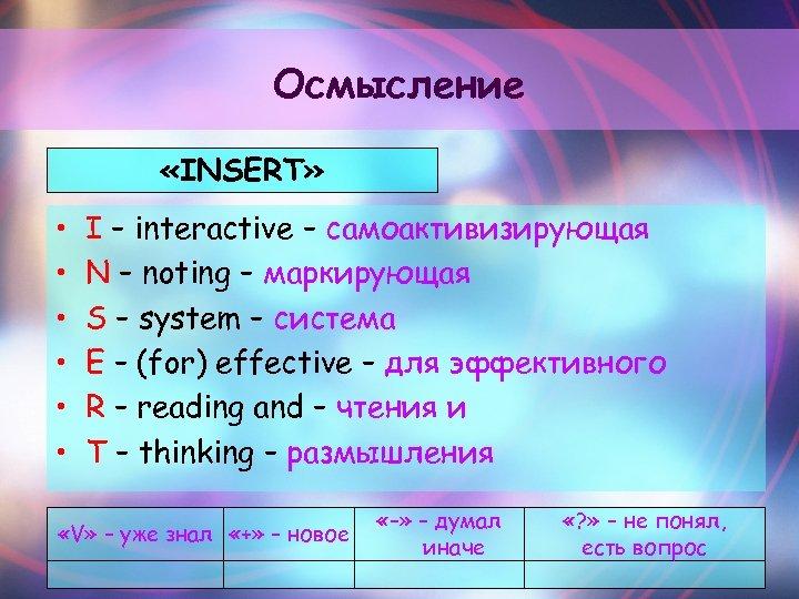 Осмысление «INSERT» • • • I – interactive – самоактивизирующая N – noting –
