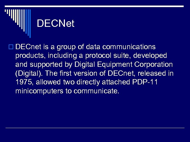 DECNet o DECnet is a group of data communications products, including a protocol suite,