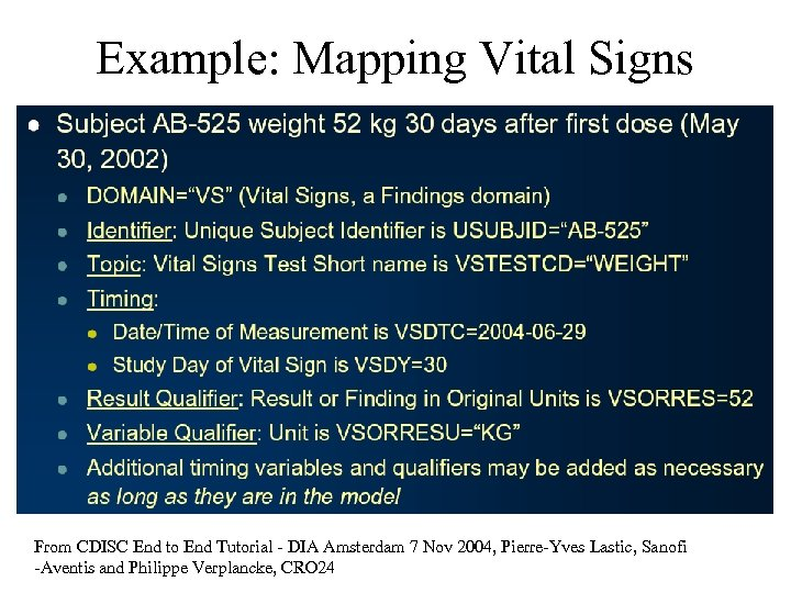 Example: Mapping Vital Signs From CDISC End to End Tutorial - DIA Amsterdam 7