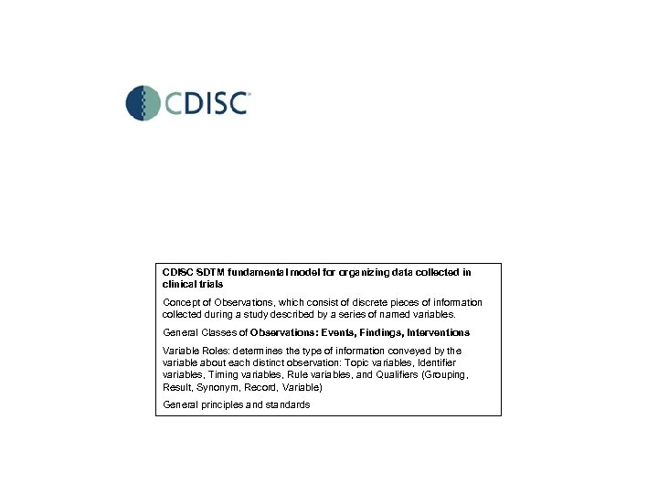 CDISC SDTM fundamental model for organizing data collected in clinical trials Concept of Observations,