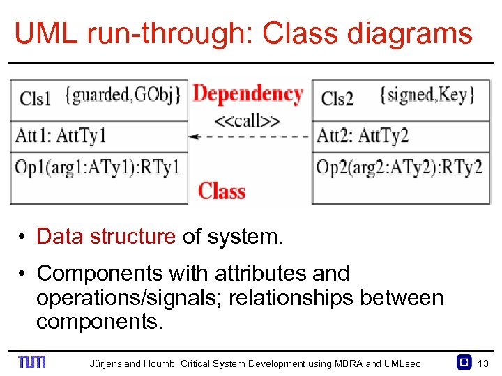 UML run through: Class diagrams • Data structure of system. • Components with attributes