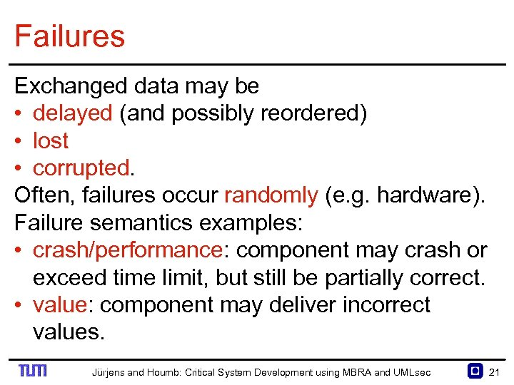 Failures Exchanged data may be • delayed (and possibly reordered) • lost • corrupted.