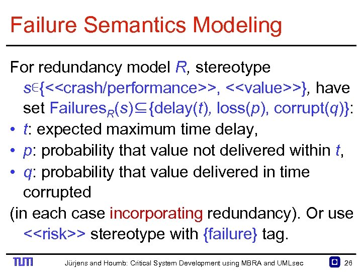 Failure Semantics Modeling For redundancy model R, stereotype s∊{<<crash/performance>>, <<value>>}, have set Failures. R(s)⊆{delay(t),