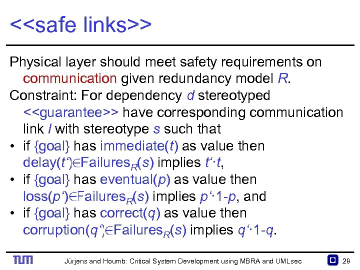 <<safe links>> Physical layer should meet safety requirements on communication given redundancy model R.