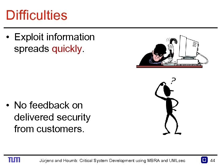 Difficulties • Exploit information spreads quickly. • No feedback on delivered security from customers.