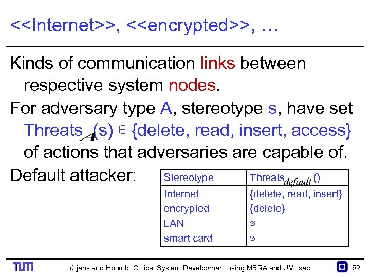 <<Internet>>, <<encrypted>>, … Kinds of communication links between respective system nodes. For adversary type