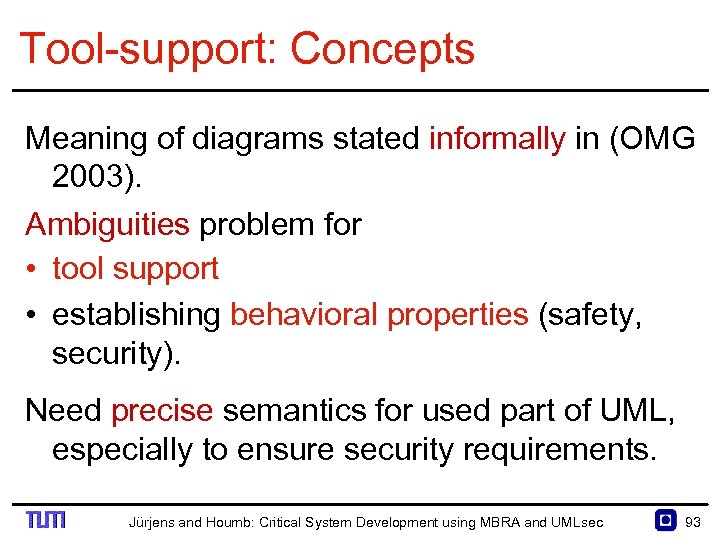 Tool support: Concepts Meaning of diagrams stated informally in (OMG 2003). Ambiguities problem for