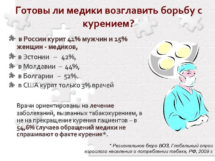 Готовы ли медики возглавить борьбу с курением? в России курит 41% мужчин и 15%