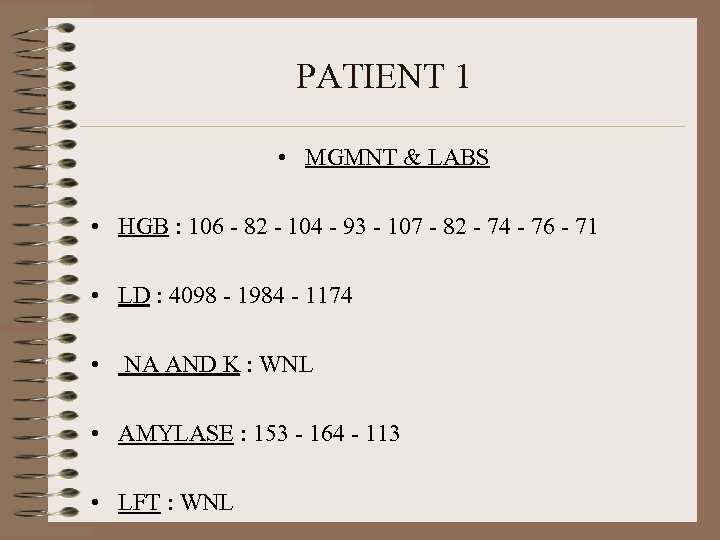 PATIENT 1 • MGMNT & LABS • HGB : 106 - 82 - 104