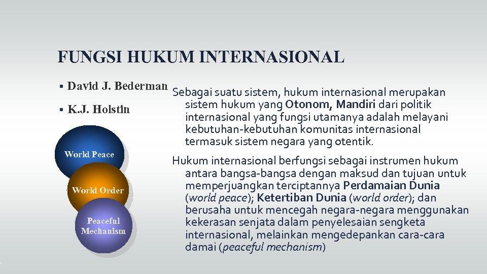 FUNGSI HUKUM INTERNASIONAL David J. Bederman K. J. Holstin World Peace World Order Peaceful