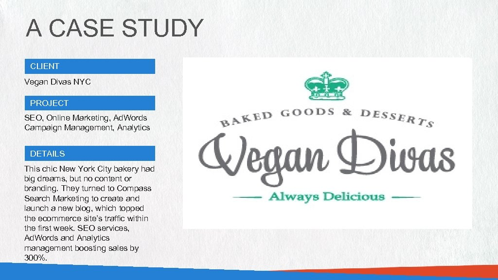 A CASE STUDY CLIENT Vegan Divas NYC PROJECT SEO, Online Marketing, Ad. Words Campaign