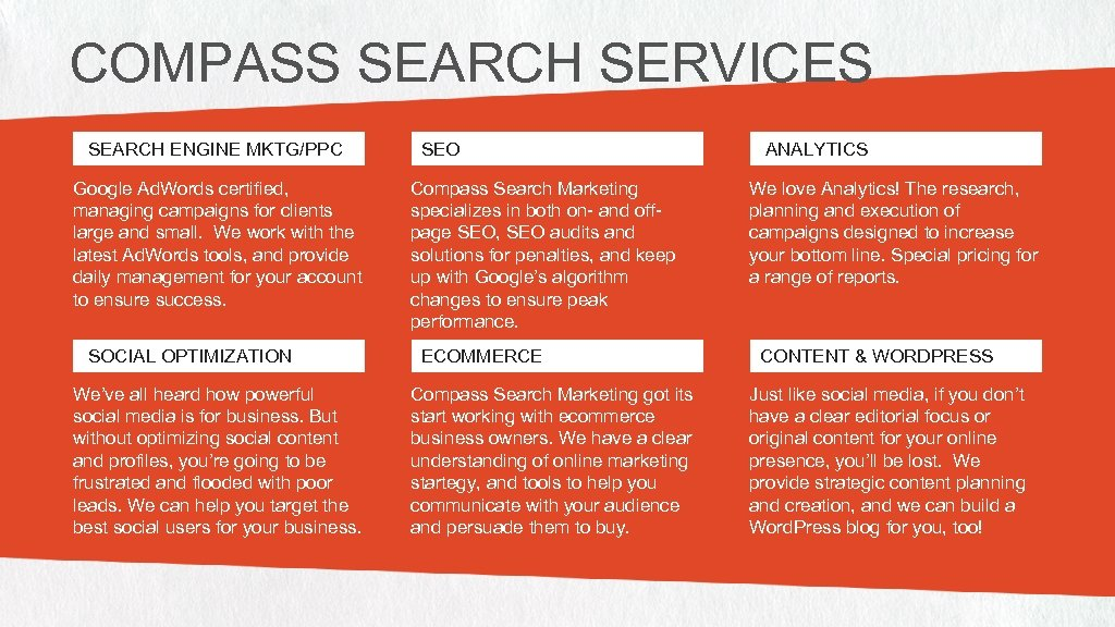 COMPASS SEARCH SERVICES SEARCH ENGINE MKTG/PPC Google Ad. Words certified, managing campaigns for clients