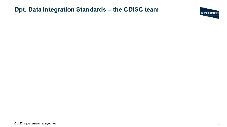 Dpt. Data Integration Standards – the CDISC team CDISC Implementation at Nycomed 10