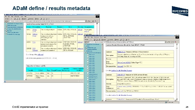 ADa. M define / results metadata CDISC Implementation at Nycomed 28