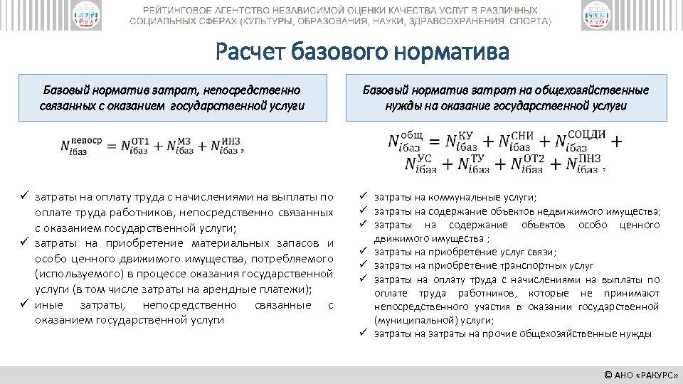 Расчет базового норматива Базовый норматив затрат, непосредственно связанных с оказанием государственной услуги ü затраты