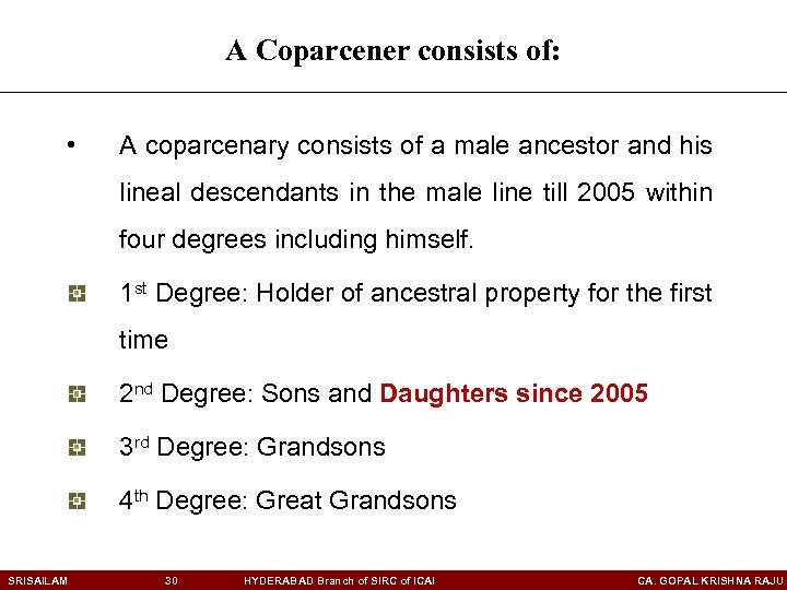 A Coparcener consists of: • A coparcenary consists of a male ancestor and his