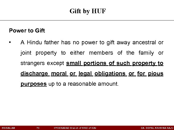Gift by HUF Power to Gift • A Hindu father has no power to