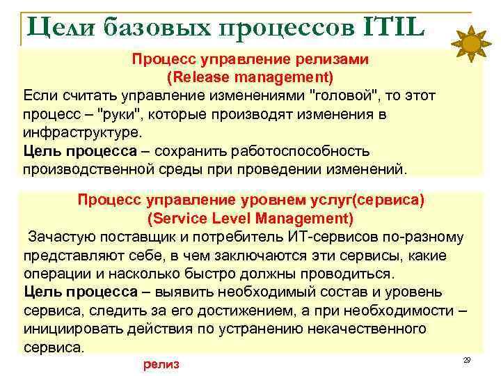 Цели базовых процессов ITIL Процесс управление релизами (Release management) Если считать управление изменениями