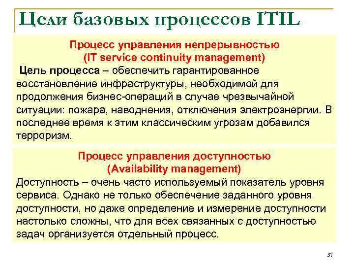 Цели базовых процессов ITIL Процесс управления непрерывностью (IT service continuity management) Цель процесса –
