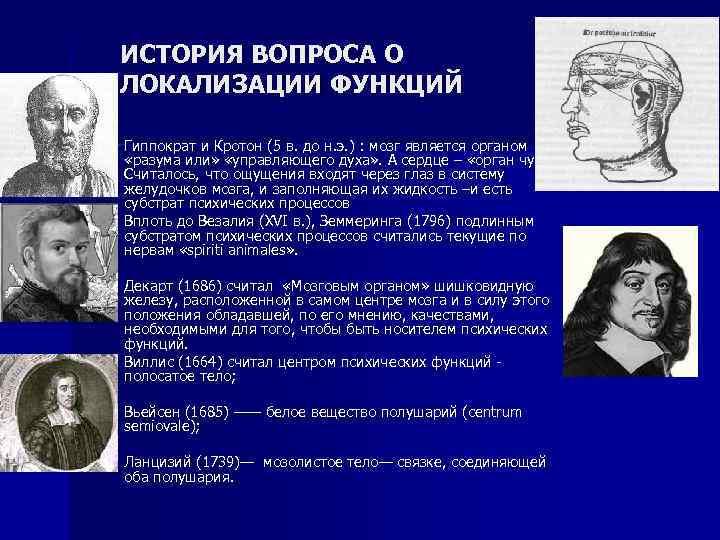 ИСТОРИЯ ВОПРОСА О ЛОКАЛИЗАЦИИ ФУНКЦИЙ n n Гиппократ и Кротон (5 в. до н.