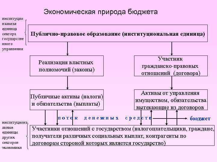 Экономическая природа бюджета институцио нальная единица сектора государстве нного управления Публично-правовое образование (институциональная единица)
