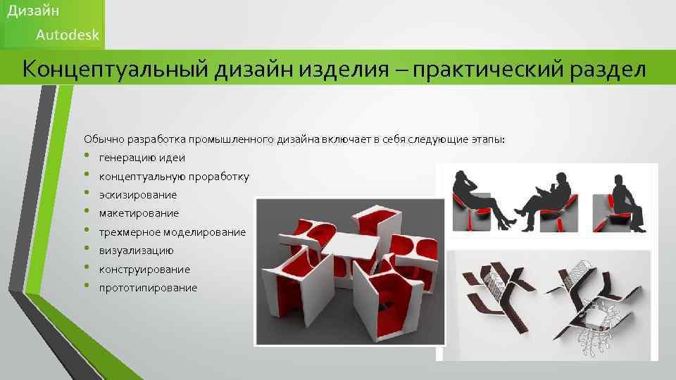 Концептуальный дизайн изделия – практический раздел Обычно разработка промышленного дизайна включает в себя следующие