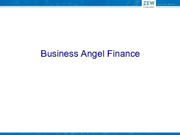 Business Angel Finance