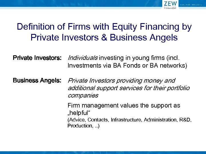 Definition of Firms with Equity Financing by Private Investors & Business Angels Private Investors: