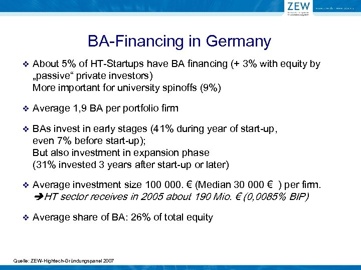 BA-Financing in Germany v About 5% of HT-Startups have BA financing (+ 3% with