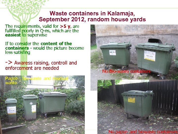 Waste containers in Kalamaja, September 2012, random house yards The requirements, valid for >5
