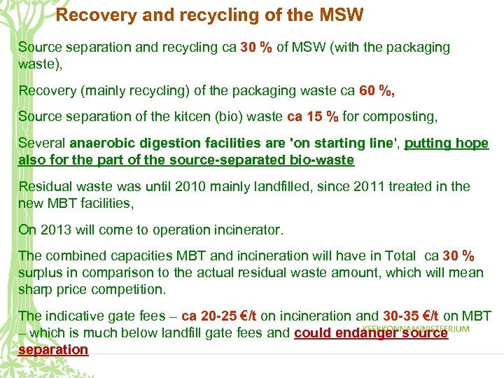 Recovery and recycling of the MSW Source separation and recycling ca 30 % of