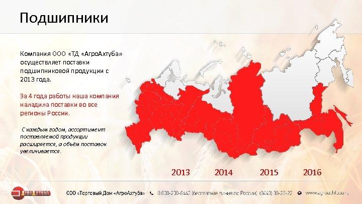 Подшипники Компания ООО «ТД «Агро. Ахтуба» осуществляет поставки подшипниковой продукции с 2013 года. За