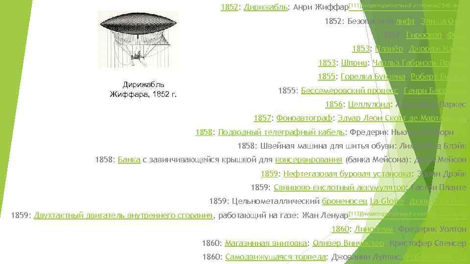 1852: Дирижабль: Анри Жиффар[111][неавторитетный источник? 545 дней] 1852: Безопасный лифт: Элиша Отис 1852: Гироскоп: