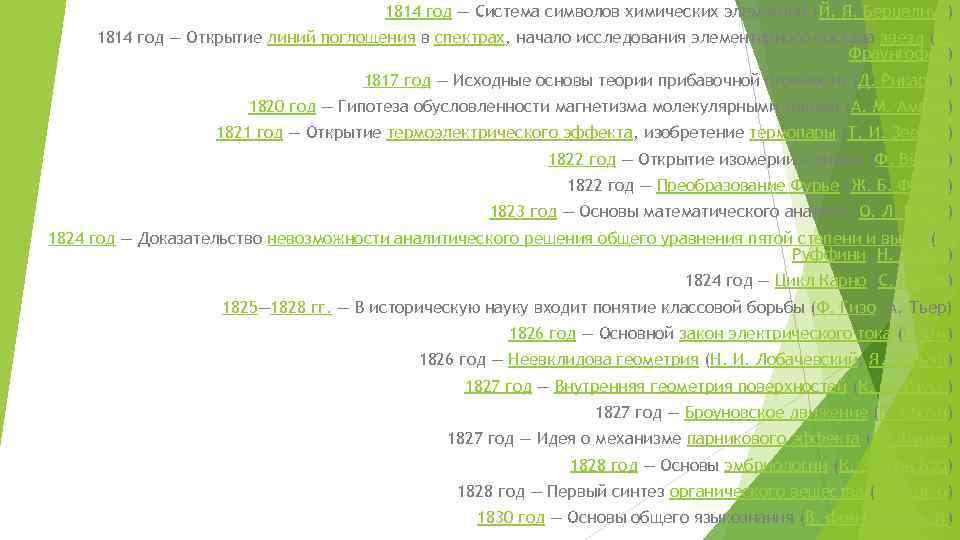 1814 год — Система символов химических элементов (Й. Я. Берцелиус) 1814 год — Открытие