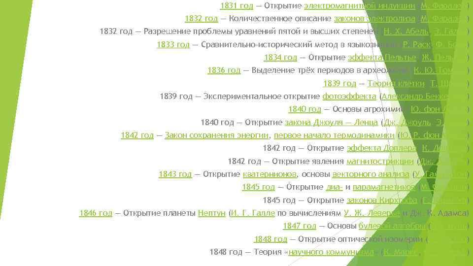 1831 год — Открытие электромагнитной индукции (М. Фарадей) 1832 год — Количественное описание законов