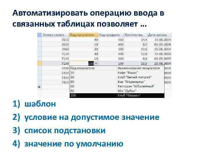 Автоматизировать операцию ввода в связанных таблицах позволяет … 1) 2) 3) 4) шаблон условие