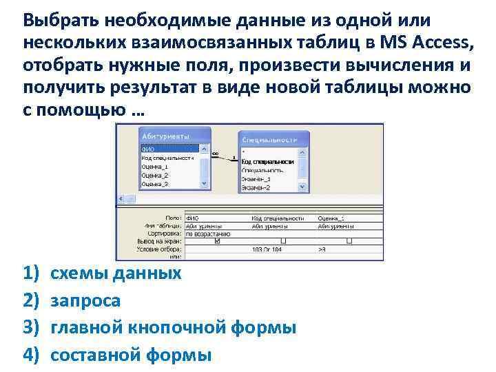 Выбрать необходимые данные из одной или нескольких взаимосвязанных таблиц в MS Access, отобрать нужные