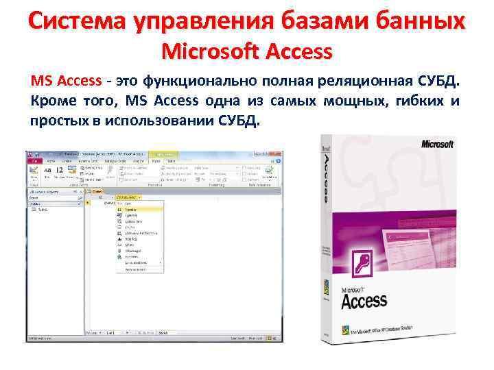 Система управления базами банных Microsoft Access MS Access - это функционально полная реляционная СУБД.