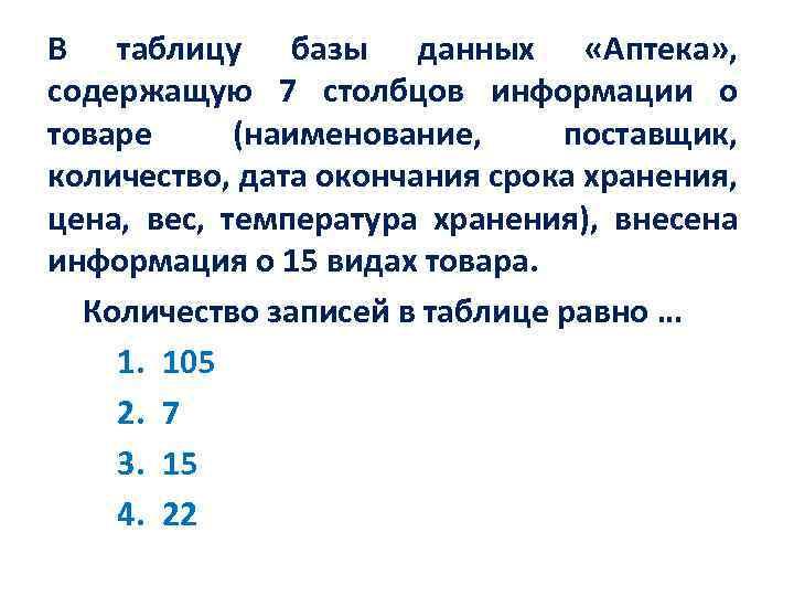 В таблицу базы данных «Аптека» , содержащую 7 столбцов информации о товаре (наименование, поставщик,