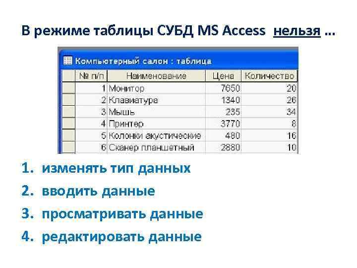 В режиме таблицы СУБД MS Access нельзя … 1. 2. 3. 4. изменять тип