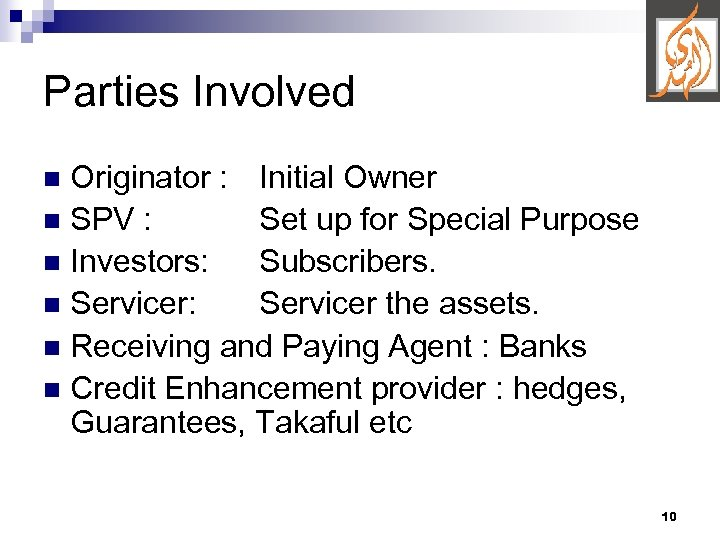 Parties Involved Originator : Initial Owner n SPV : Set up for Special Purpose